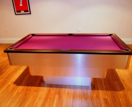 7ft Tiered Contemporary UK Pool Table in Brushed Aluminium with Black Cushion and Pink / Purple Cloth. Shop here: http://www.snookerandpooltablecompany.com/pool-tables/uk-pool-tables/contemporary-bespoke-uk-pool-tables/tiered-contemporary-uk-pool-table-black-cushion-rail-and-purple-cloth.html