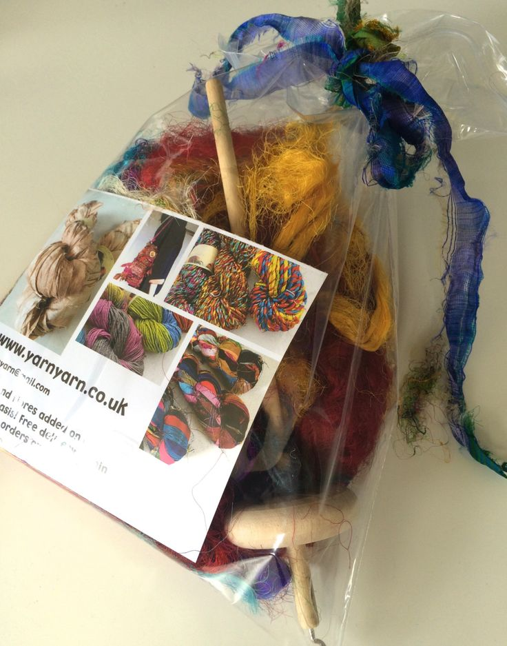 Hand spinning kit with silk waste fibers, birch drop spindle, gift wrapped! Unique fiber gift for a friend. by Yarnyarnyarns on Etsy