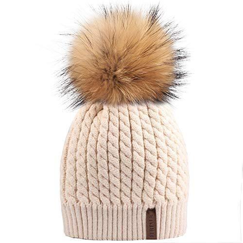 23594f3048c Winter Beanie Hats for Women FURTALK Womens Warm Knit Fur Bobble Pom Pom Hat   winterfashion