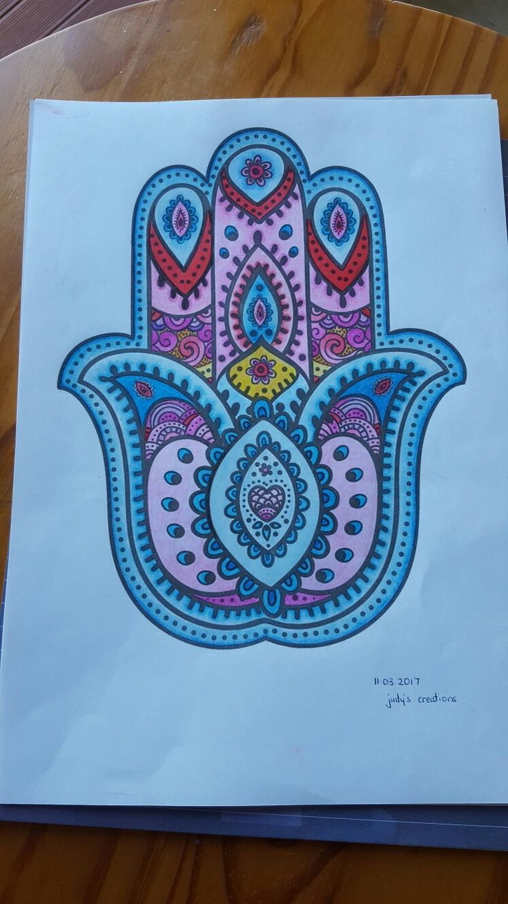Coloring In - Art Therapy - Hamsa (11 March2017).... as per the quote 'To practice any art, no matter how well or badly, is a way to make your soul grow. So do it.' - KURT  VONNEGUT