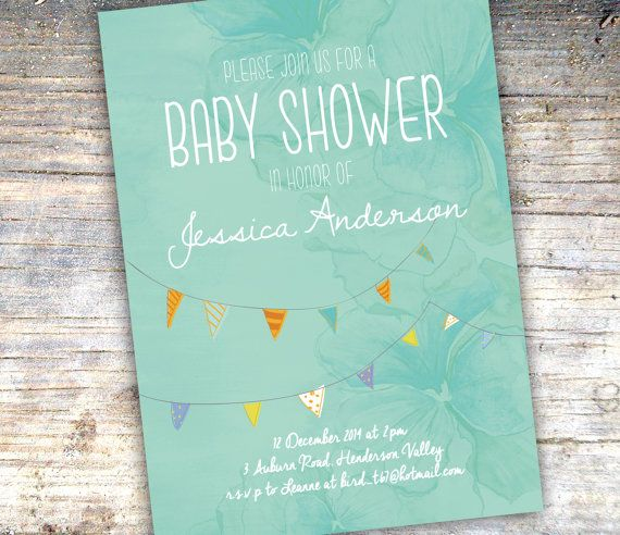 Printable Baby Shower Invitation, baby boy, blue baby shower, teal baby shower, mint and coral, baby shower invitation, bunting flags on Etsy, $18.00