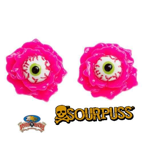 You've never seen a pair of earrings like this before! The creepy 'n kooky Eyeball Corsage earrings are a must for any kitschy ghoul.