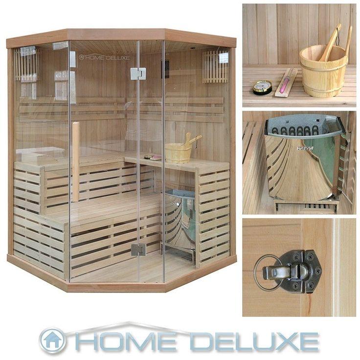 Sauna Saunakabine Ecksauna Massivholz Traditionell Harvia Saunaofen Zubehör in Heimwerker, Sauna & Schwimmbecken, Saunen | eBay