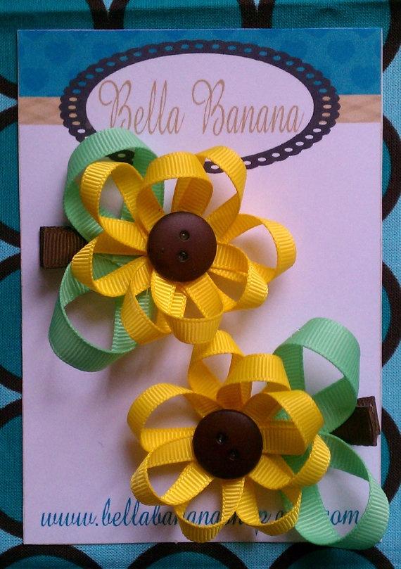 SWEET SUNFLOWERS Flower Clippies 2 1/2 Hair by BellaBananaShop, $4.00