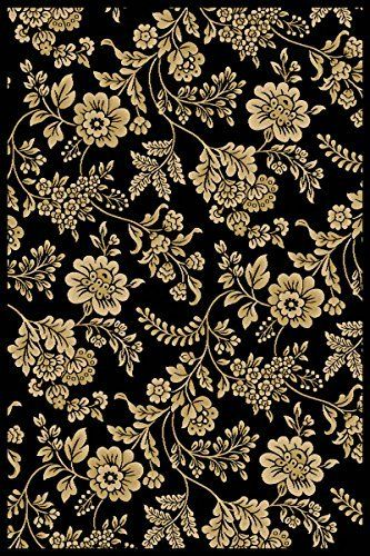 "Modern Floral Black Rug 3'3"" x 5'3"" Flowers, Vines, and"