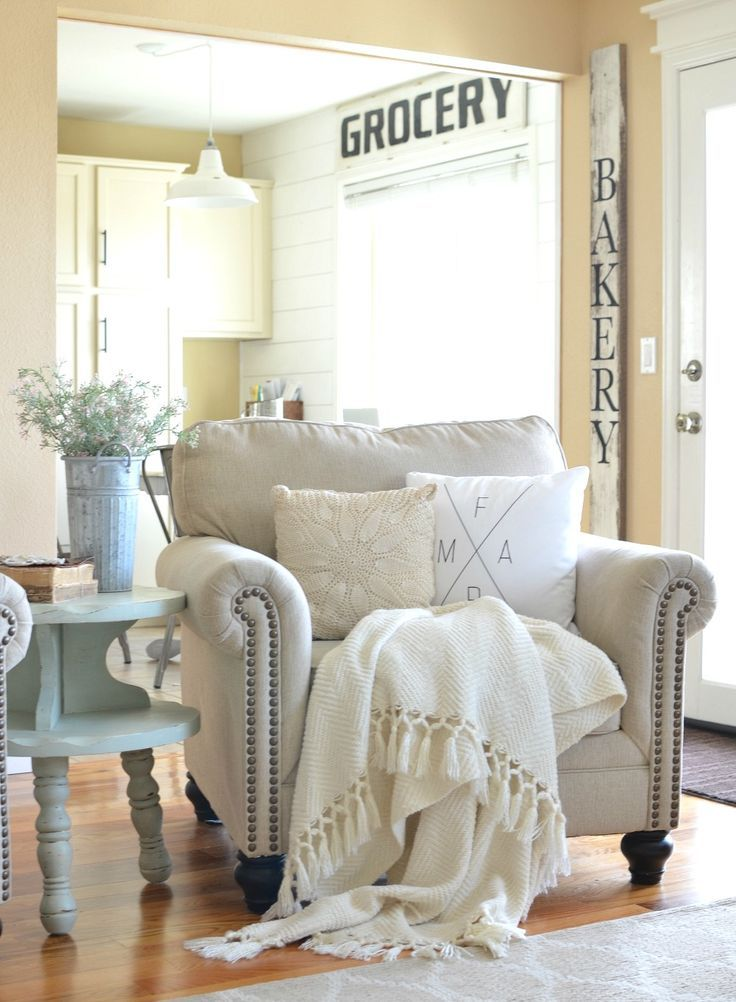 Refreshed Modern Farmhouse Living Room. Great ideas to decorate for early spring.