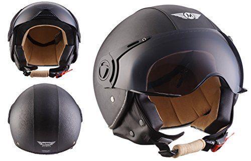 MOTO H44 Matt Black · Jet-Helmet Bobber Mofa Moto-Helmet Biker Vespa-Helmet Pilot Vintage Scooter-Helmet Cruiser Chopper Retro · ECE certified · incl. Sun Visor · incl. Cloth Bag · Black · L (59-60cm)