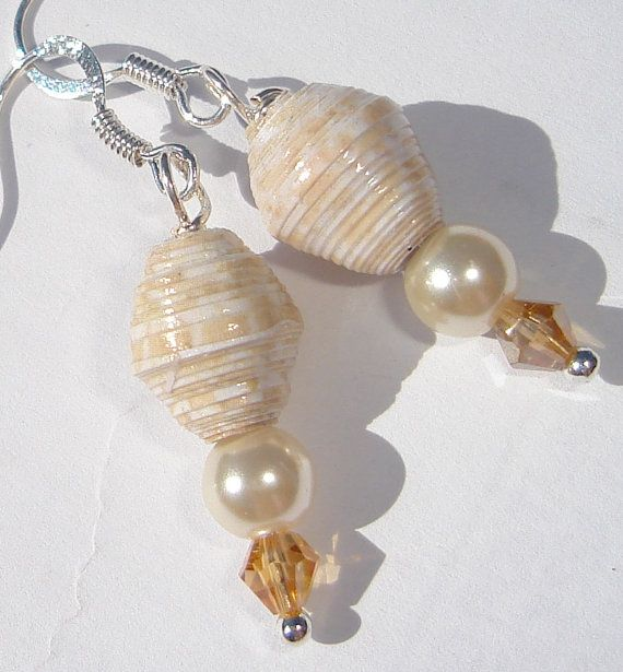 beige paper beads with pearls and crystals pierced dangle hand made wire wrapped earrings