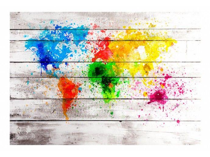 World Map: Colourful Blot 90212