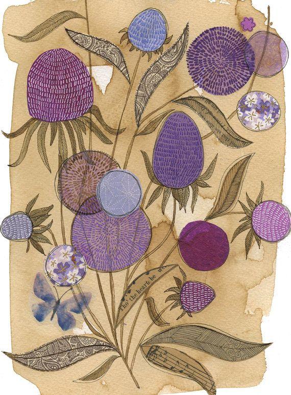 Purple coneflower - 11X14 GICLEE PRINT, botanical collage, Susan Black