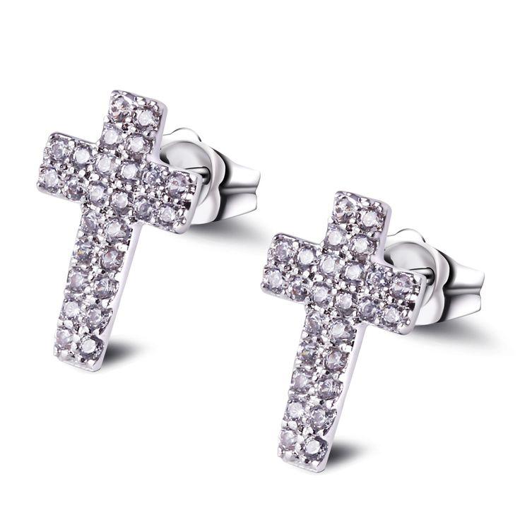 Love Deluxe Earrings-Small Cross Shape Earrings for Girls Simple Style Earring High Quality Free Allergy Lead Free Stud earrings