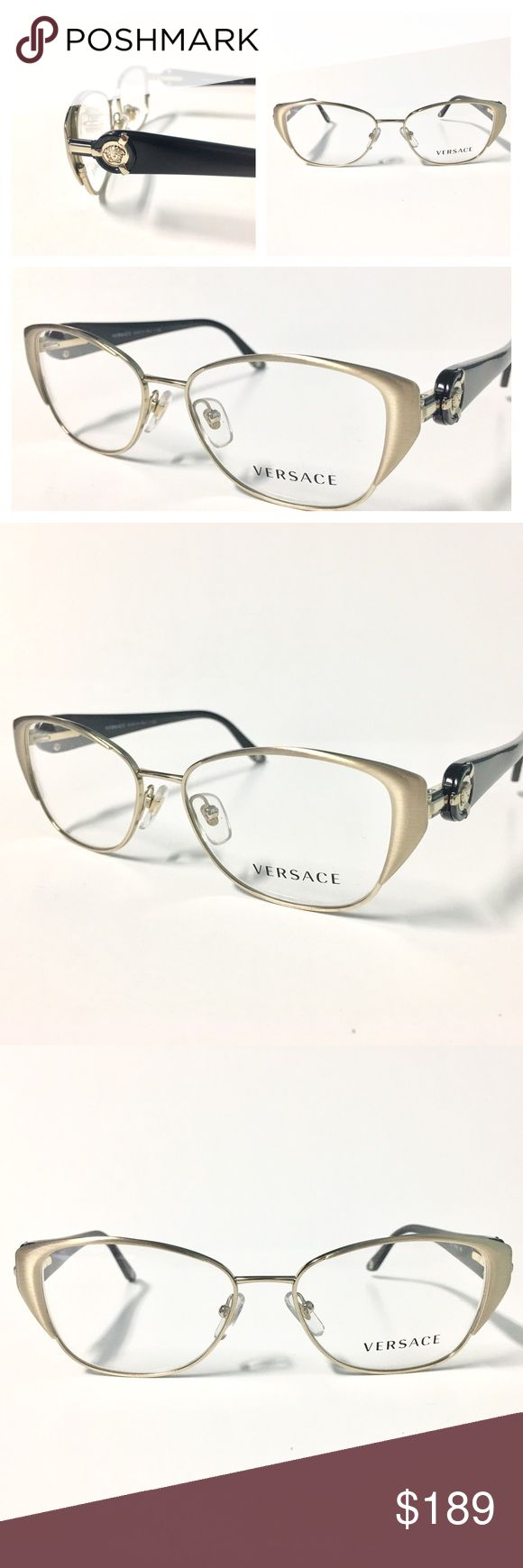 Women's Eyeglasses Brushed Gold and Black Women's Eyeglasses Cat Eye Optical Frame Brushed Gold with Black Temples  51mm-15mm-135mm  Authentic with Versace Case, Cloth and Gift box...      We Confirm and Ship this item Same day! Versace Accessories Glasses