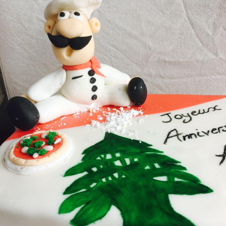 Gâteau Drapeau Libanais/Pizzaïolo #libanais #pâte #sucre #génoise #pizza #rouge #vert #anniversaire #green #red #happy #birthday #Liban #crème #beurre #framboise #saverne #France #gâteau #cake #design #chocolat #drapeau #pizzaïolo #