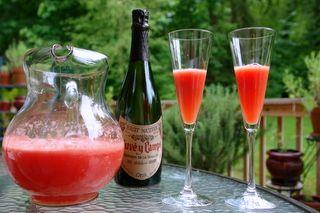 Watermelon mimosa: Chunk of watermelon, orange juice, some sugar, and champagne