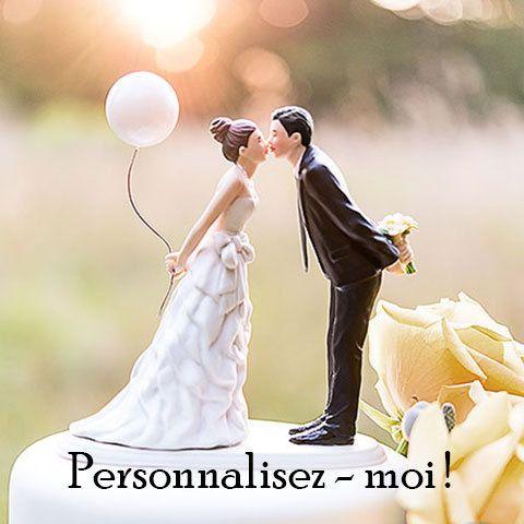 """Figurine de mariage """"Ballon"""" pour décorer votre gâteau - http://www.instemporel.com/s/12597_221643_figurine-maries-au-ballon"""
