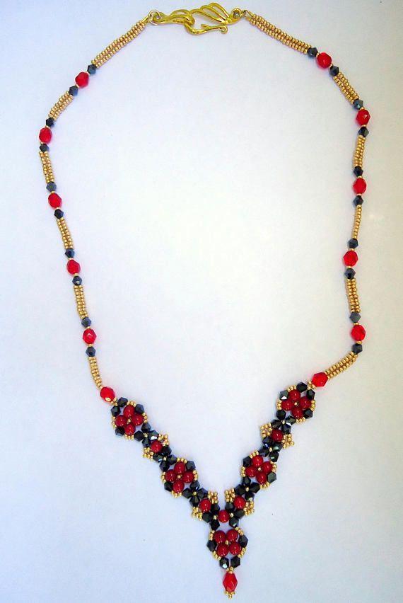 Coral necklaceswarovski crystal necklaceseed bead