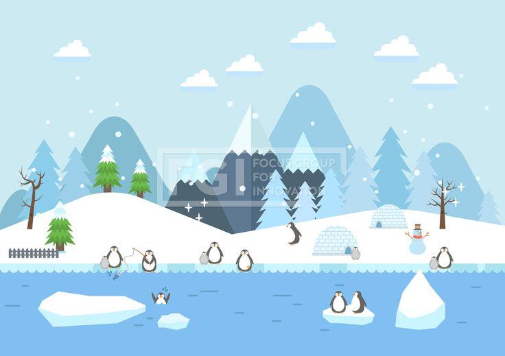 SILL151, 겨울배경, 벡터, 풍경, 에프지아이, 겨울, 배경, 백그라운드, 오브젝트, 펭귄, 북극, 이글루, 산, Background…
