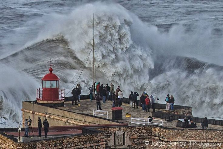 A massive wave breaks at Nazaré in Portugal