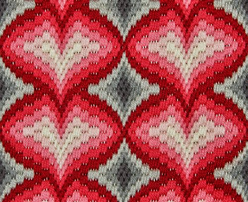 4 of hearts Bargello needlepoint