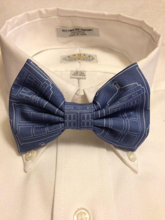 Doctor Who Tardis Blueprint Bowtie / Bow Tie or Hair Bow. $10.00