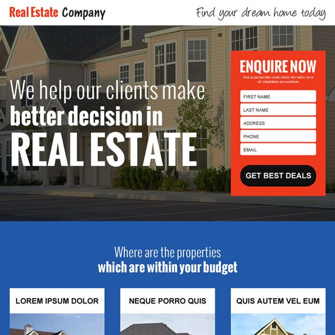 real estate company small lead capture landing page design