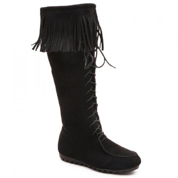 Elegant Fringe and Zipper Design Women's Mid-Calf Boots #jewelry, #women, #men, #hats, #watches, #belts