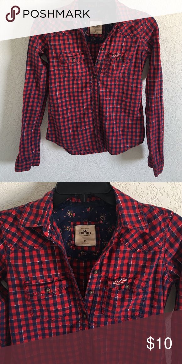 Hollister top Plaid button down top. Worn once, in perfect condition! Hollister Tops