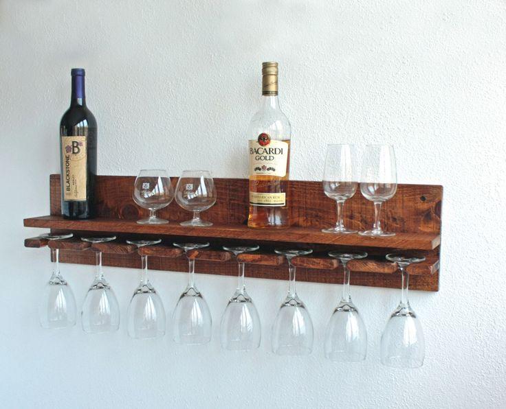 Wine Glass Rack, Hanging Wine Glass Rack, Rustic Wine Glass Holder, Wine Glasses Shelf