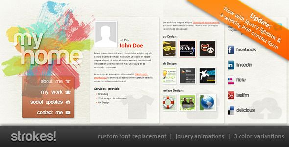 Strokes! Personal Website Template - ThemeForest Item for Sale