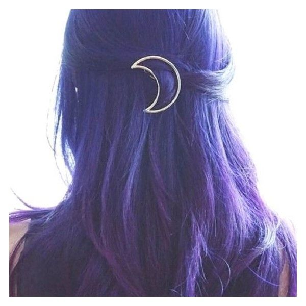 Gold Tone Crescent Moon Hair Clip Barrette ❤ liked on Polyvore featuring accessories, hair accessories and hair
