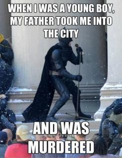 I read it In batmans voice along to the tune of the song and I'm dying XD