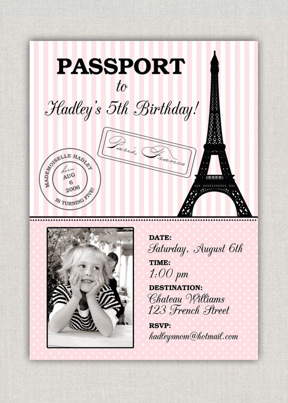 Paris Birthday Invitation By Announcingyou On Etsy 1500