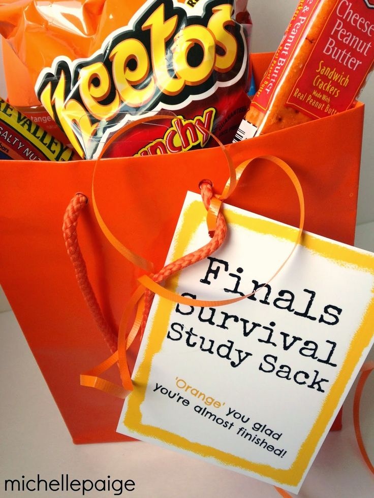 Finals Survival Study Sack.  'Orange' you glad you're almost finished?!  Load up an orange gift bag with orange colored treats and this pr…