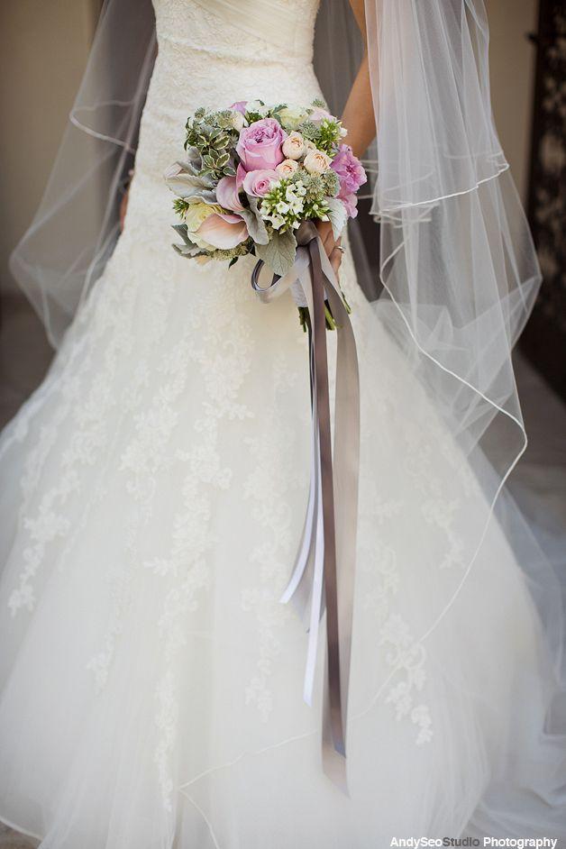 Wedding flowers pastel champagne blush grey bouquet