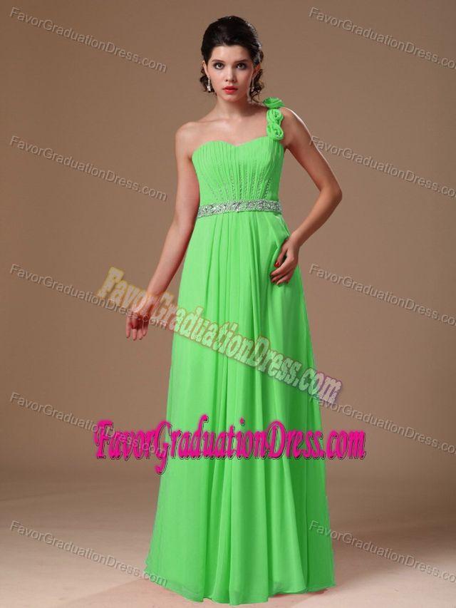 Modest Flowers One Shoulder Green 8th Grade Graduation Dress in Chiffon