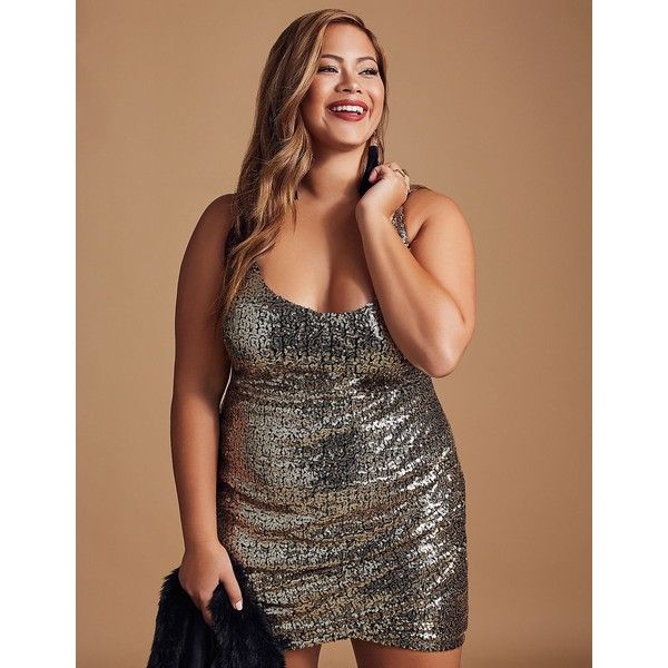 Charlotte Russe Sequins Ruched Bodycon Dress ($31) ❤ liked on Polyvore featuring plus size women's fashion, plus size clothing, plus size dresses, gold, sexy plus size dresses, bodycon mini dress, gold sequined dress, plus size cocktail dresses and plus size bodycon dresses
