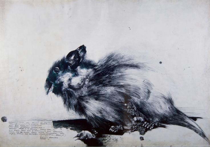 Galerie Samantha Sellem  Exposition Bestiaire     Vladimir VELICKOVIC ' 1962, Animal, 70x100cm.