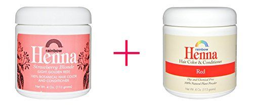 Rainbow Research Henna Hair Color and Conditioner Strawberry Blonde 4 oz AND Rainbow Research Henna Hair Color and Conditioner Red 4 oz  BUNDLE -- Details can be found by clicking on the image.