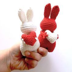 Little bunnies with valentine hearts