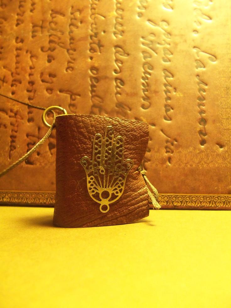 Lucky charm mini leather book pendant Facebook page:Handmade Leather Mini-Book Pendants