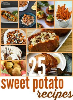 Do you love sweet potatoes?  Check out all 25 of these sweet potato recipes!  They are perfect for fall or Thanksgiving!  Find recipes for sweet potato pancakes to sweet potato casseroles.  Yum!