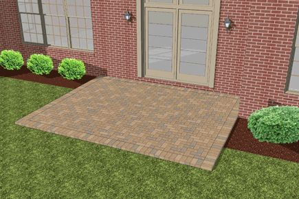 Finished paver installation over existing concrete patio.