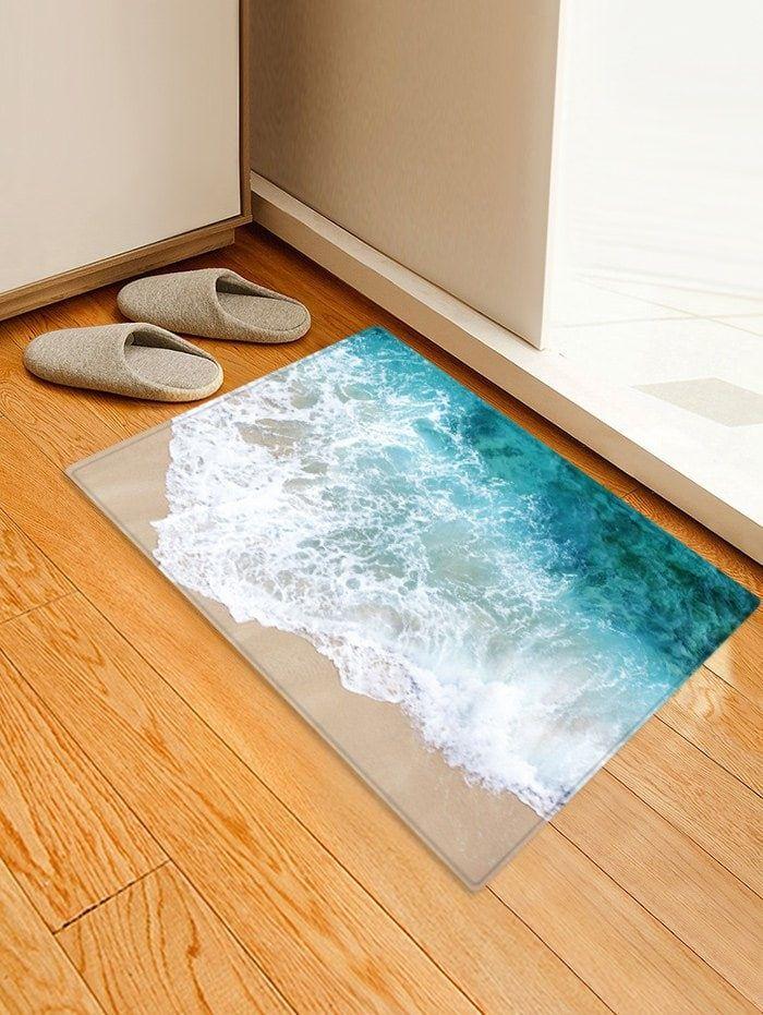 Beach Seaside Print Flannel Water Absorb Floor Rug With Images