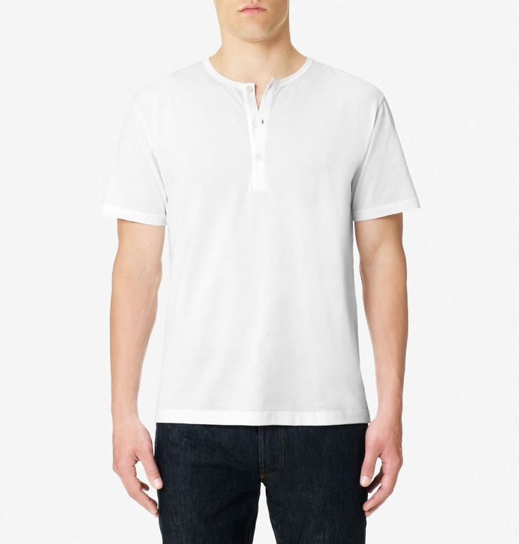 Buy a classic white Henley t-shirt in a vintage English style, in finest Egyptian cotton. Made by traditional British clothing brand Sunspel.