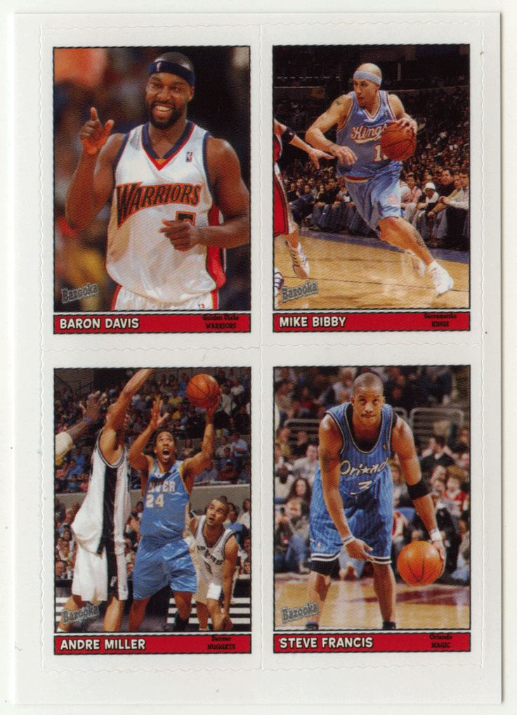 Baron Davis / Mike Bibby / Andre Miller / Steve Francis # 19 - 2005-06 Topps Baz Basketball 4-on-1 Stickers