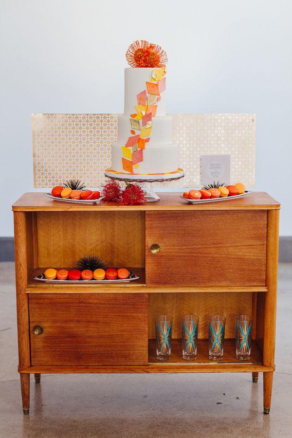 Colorful Mod Wedding Inspiration Shoot - wedding cake table. photo: Mary Wyar