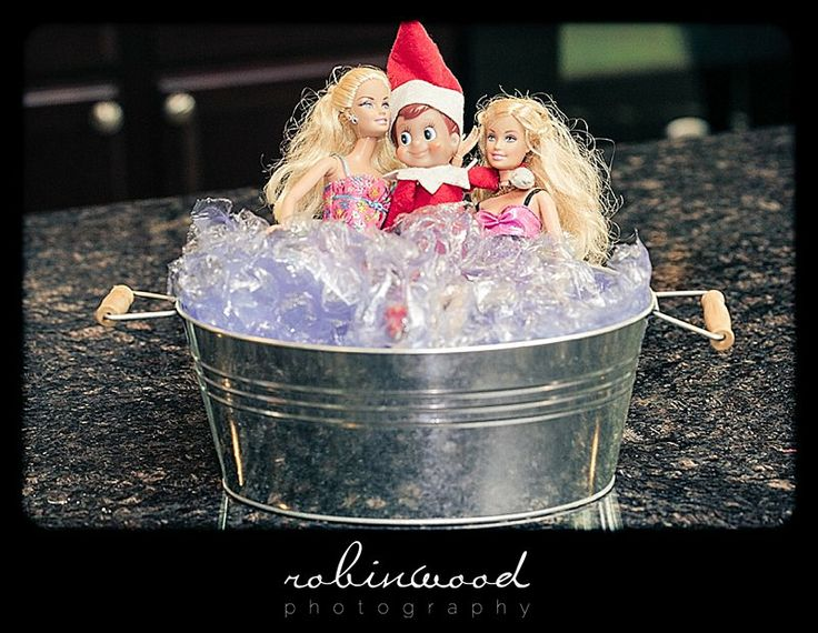 Elf on the Shelf with Barbies