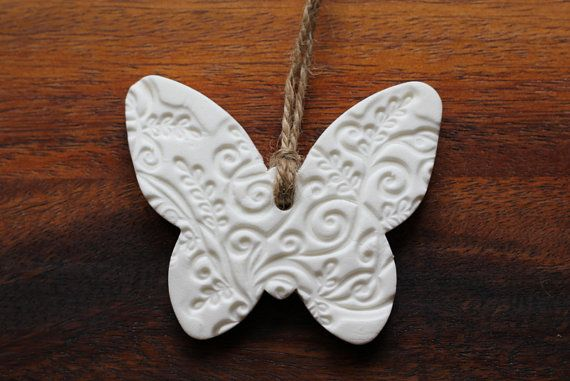 Embossed Butterfly Shaped Hanging Ornament by AntiqueRoseDesign, £3.95 made of air dry porcelain