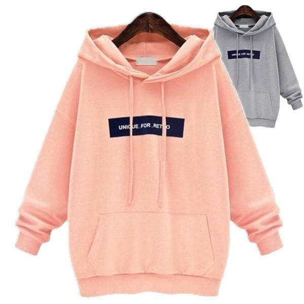 Fashion sports loose long pullover hoodie 1
