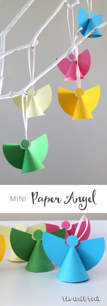 Mini paper angel ornaments, a simple Christmas craft for kids with free printable template                                                                                                                                                                                 More